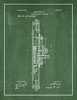 Double Ended Ram Patent Print Art Poster Green Chalkboard wi