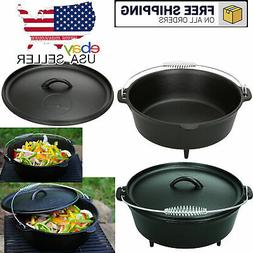 Dutch Oven With Handle Cast Iron 5-Quart Classic Outdoor Cam