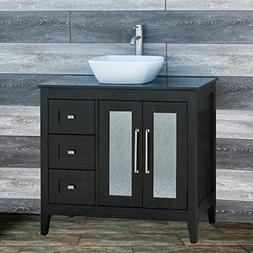 "Elimax's Solid Wood 36"" Bathroom Vanity Cabinet Ceramic Top"
