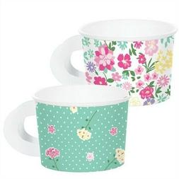 Floral Tea Party Paper Tea Cups with Handle 8 Pack Favor Gir