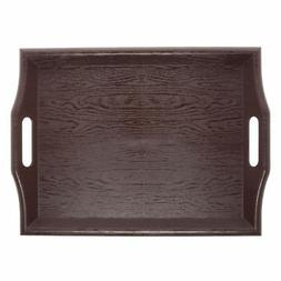 "G.E.T. Mahogany SAN Plastic Serving Tray with Handles - 18""L"