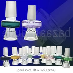 Glass Slide Bowl with Color Ring | 14mm & 18mm | Disc Handle