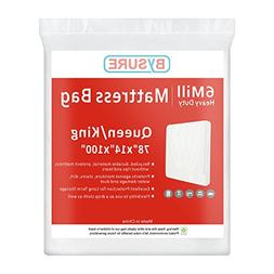 BYSURE 6 Mil Super Thick Mattress Bags for Moving & Long Ter