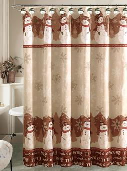 Holiday Snowman Shower Curtain with 12 Resin Shower Hook Rin