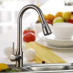 """16"""" Kitchen Sink Faucet Brushed Nickel Pull-out Spray Swivel"""