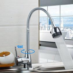 Kitchen Sink Faucet with Pull Down Sprayer Chrome Single Han