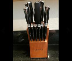Knife Set, 15-Piece Kitchen Knife Set with Block, ABS Handle