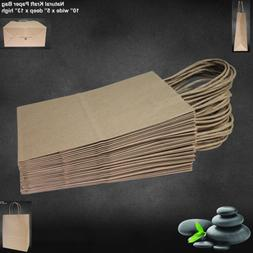 "10""x5""x13"" - 50 Pcs - Brown Kraft Paper Bags, Shopping, Mech"