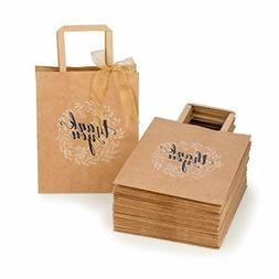 Kraft Paper Bags Bulk with Handles and Printed Thank-You Des