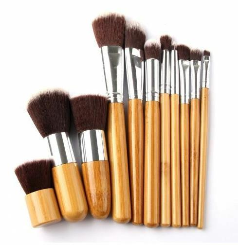 11 pcs Wood Trendy Brush with Pouch Bag