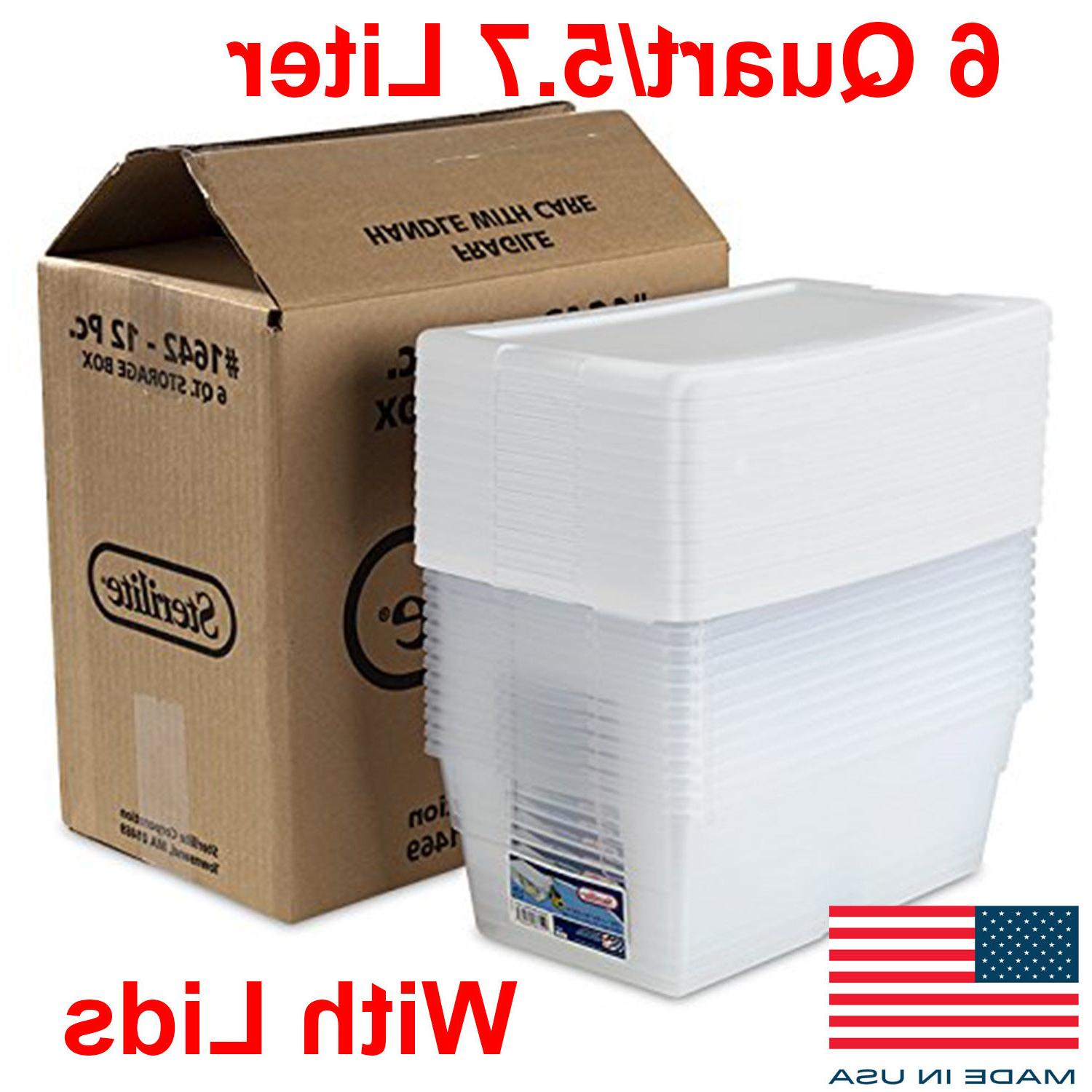 12 Pack Storage Bins Container Plastic Boxes 6 Quart Stackab