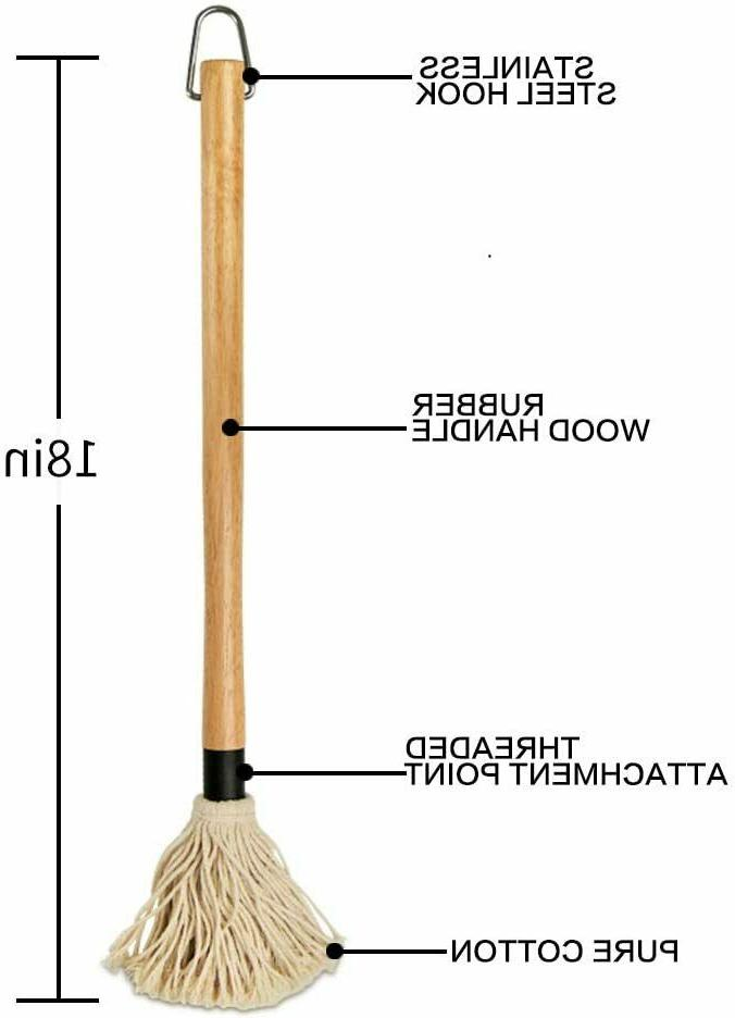 18 Basting Mop Wooden Long with Extra Head