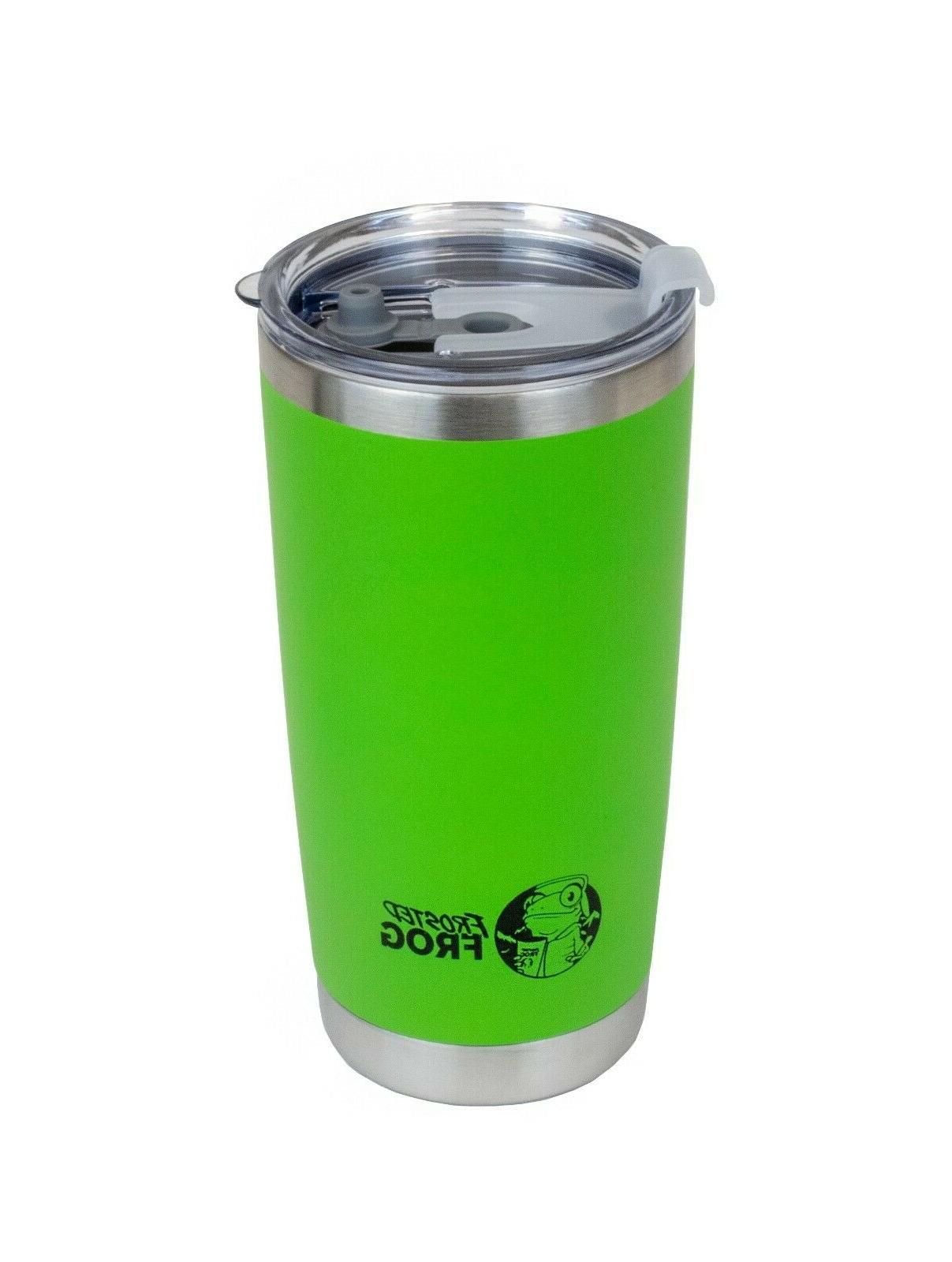 20oz green vacuum insulated tumbler with stainless