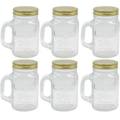 6 mason jar mug with handle rustic