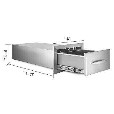 """8.5"""" 14"""" Stainless Steel Single Drawers With Tracks"""