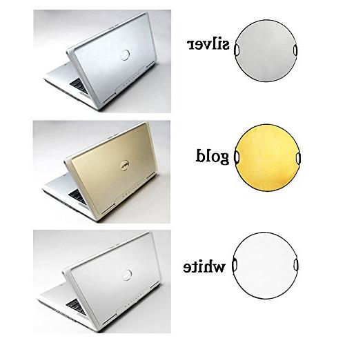 Fairview 5-in-1 Lighting 80cm Round Handle Panel Kit with Portable Carrying Bag for Photo Studio &Outdoor White Silver