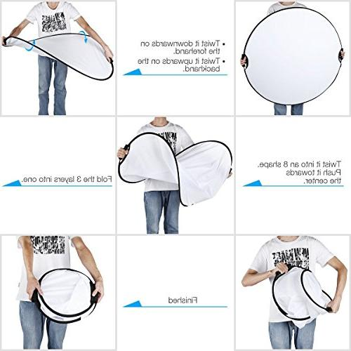 Fairview Collapsible Lighting 80cm Round Handle Panel with Carrying Photo Studio White