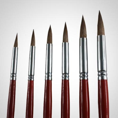 Artist Paint Brushes - Top Red Sable Long Round Brush Acrylic Painting. The the Weasel Hair Excellent Paint Holding Capacity and Easy