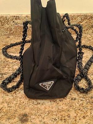 authentic nylon tote with link handle black