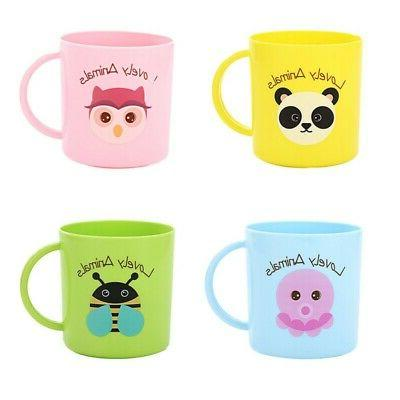 Baby Plastic Cups Cartoon Print Drinking With Handle