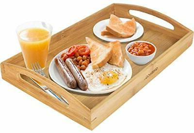bamboo serving tray with handle tea food