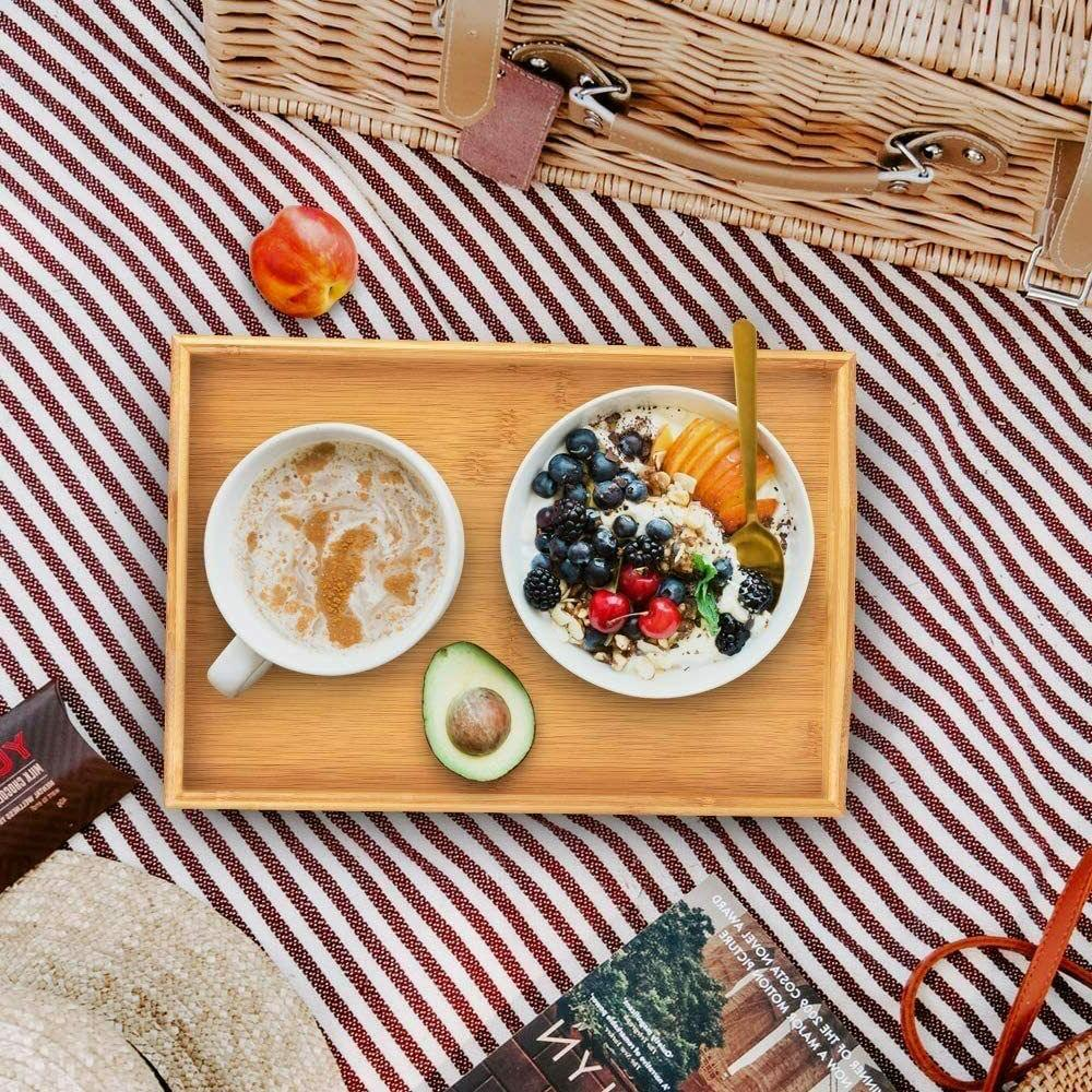 Bamboo Tray with Handle Food Plate Color