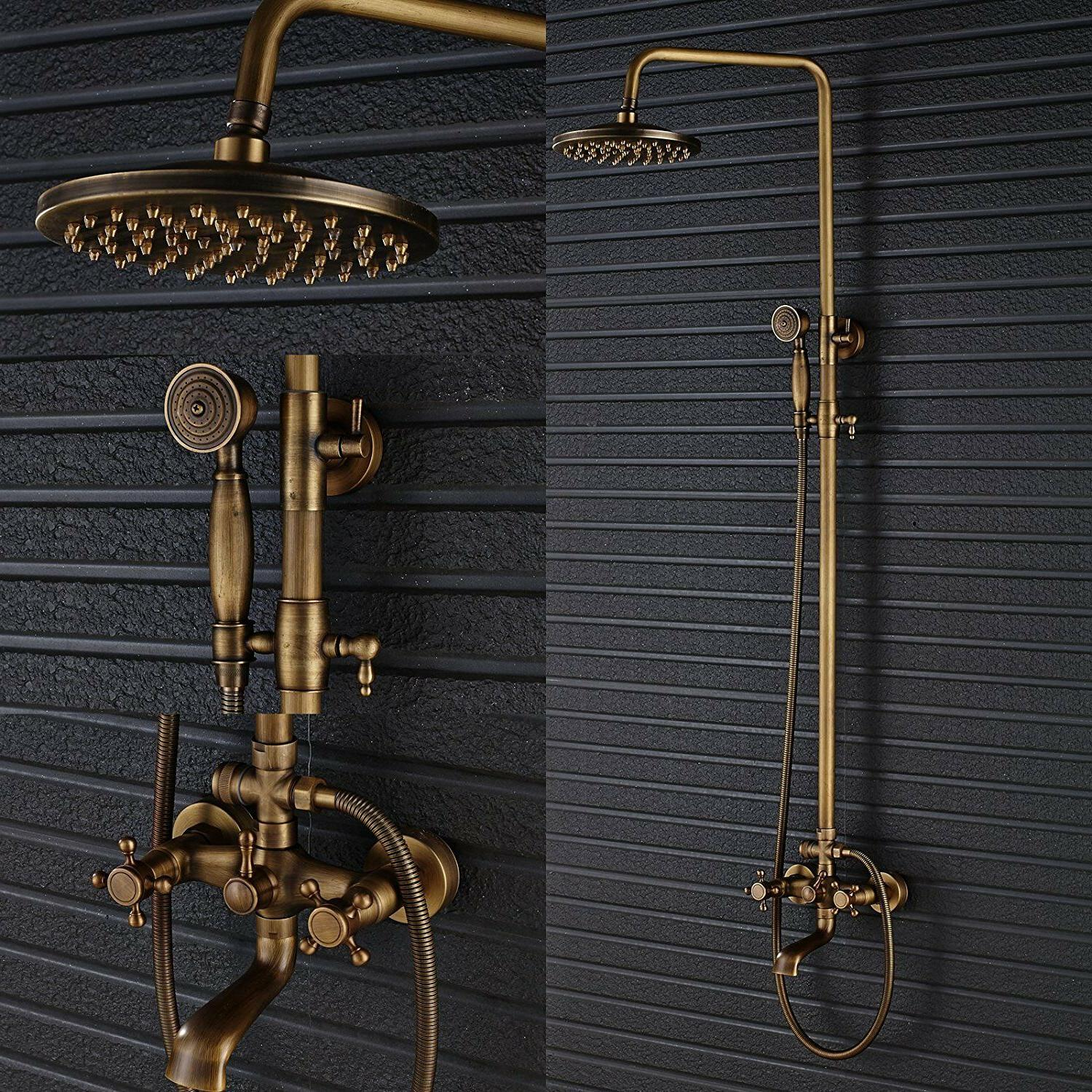 Bath Shower Faucet Set Complete Antique Brass Finish Wall Mo