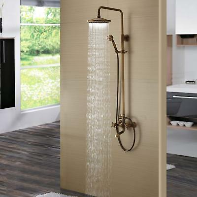 Bath Shower Faucet Set Complete Antique Brass Wall Mounted w