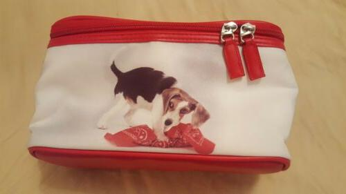 beagle dog makeup case with handle on