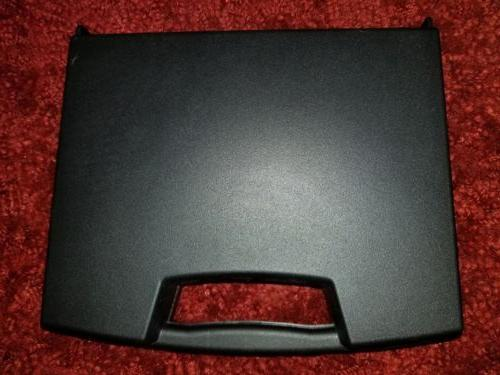 black plastic with handle