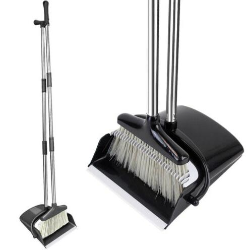 broom and dustpan set with sturdy long