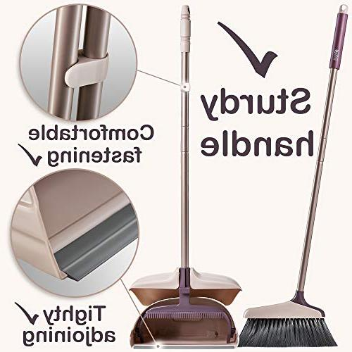 Broom Dustpan - Large Upright pan and with Dustpan Set Hard Sweeper Outdoor - Hand Brooms -