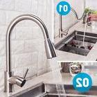 Brushed Kitchen Faucet Sink Stainless Steel Single Handle Si
