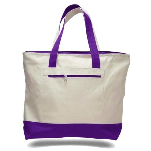 Canvas Zippered with Colored Handle