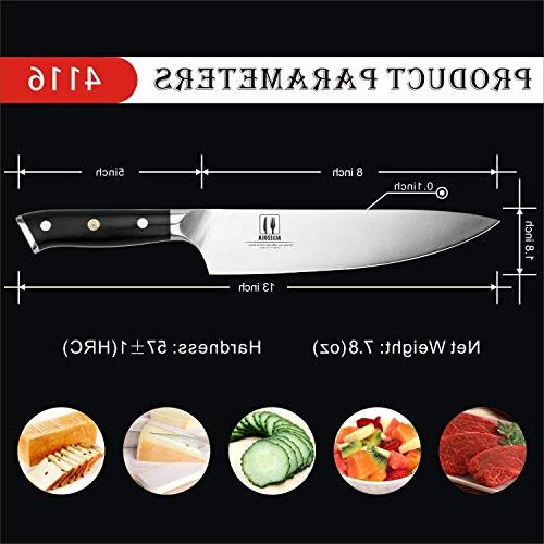 Professional Razor 8-inch Carbon Kitchen Riveted G10 Wooden