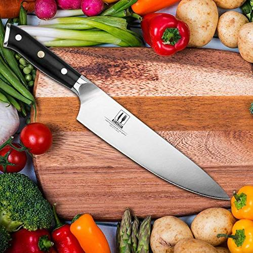 Professional Chef's Knife, Razor 8-inch Carbon Steel Germany Kitchen Triple Riveted G10 Wooden Handle