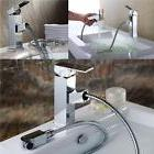 Chrome Brass Pull Out Faucet Kitchen&Bathroom Tub Sink Singl