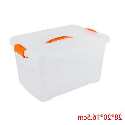 Clear Plastic Box Home With Clip Lids & Handle