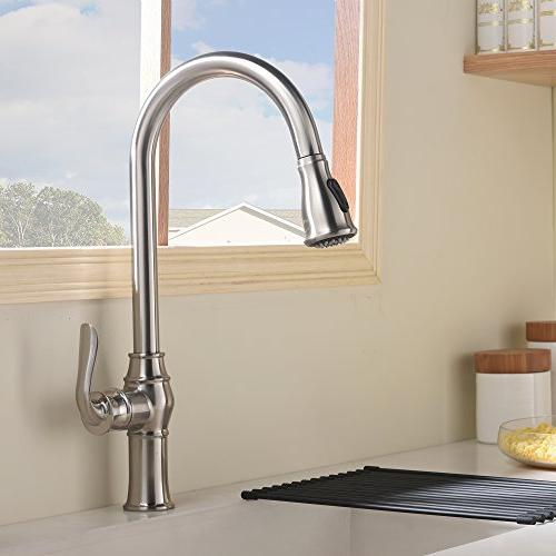 Best Commercial Stainless Steel Single Handle Pull Sprayer Faucet, Out Faucets Nickel