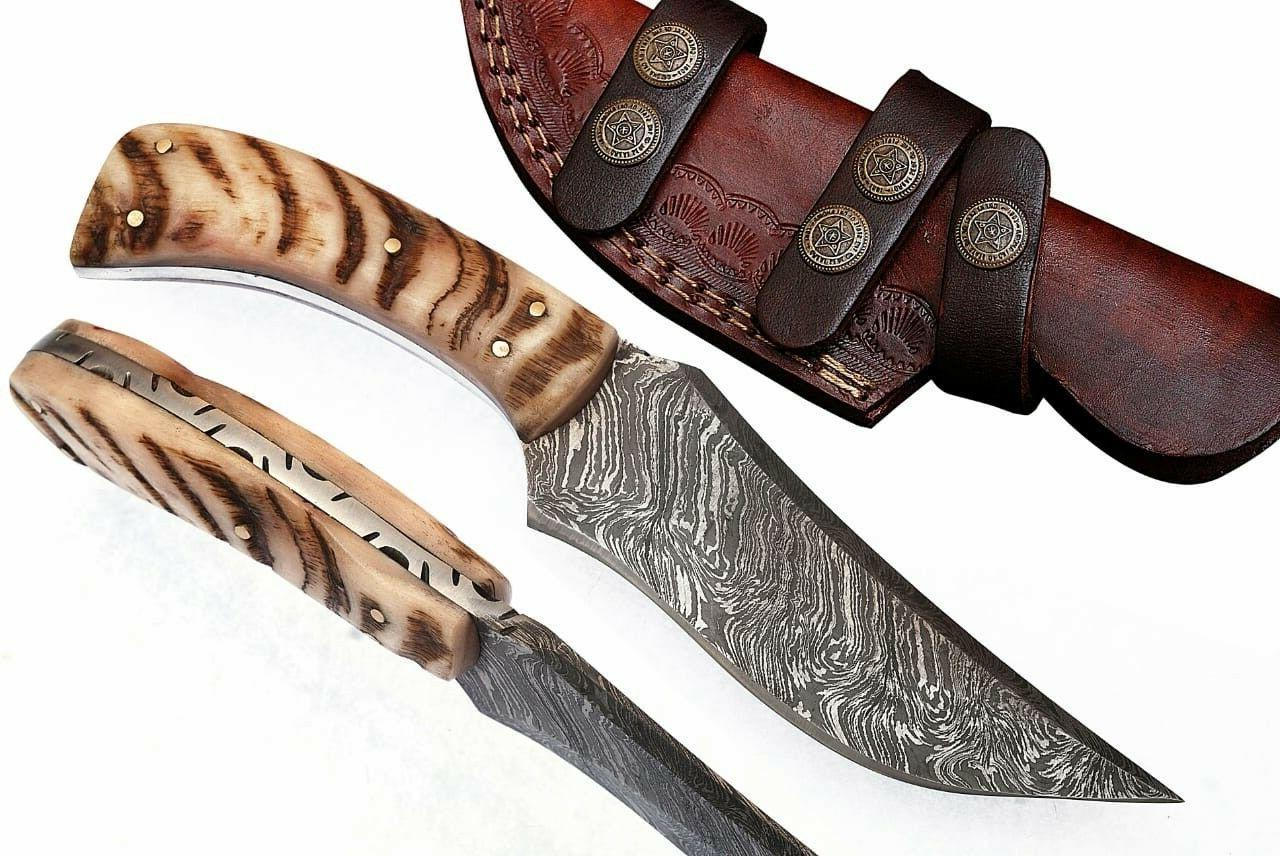 custom handmade steel hunting knife ram handle