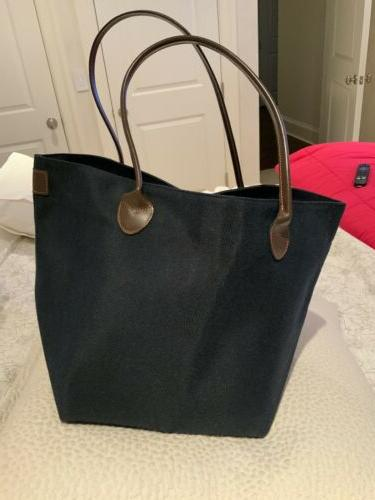 HERVE CHAPELIER FABRIC TOTE BAG, LEATHER