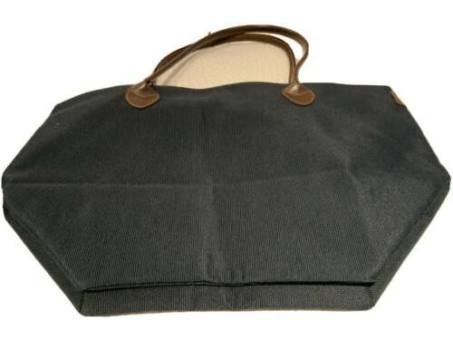 fabric tote bag not nylon with leather