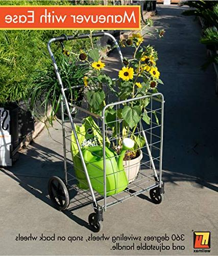 Grocery Shopping with Swivel Wheels & Collapsible Cart with – Duty Weight