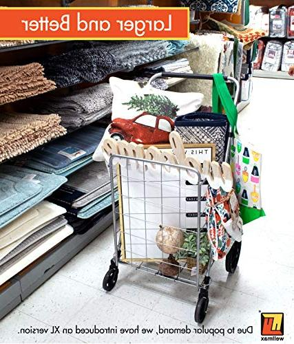 Grocery Shopping Swivel Wheels & Collapsible Utility with Height – Duty Weight Trolley