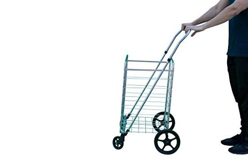Grocery Swivel Wheels & Utility with Height Handle – Space Saving Duty Light
