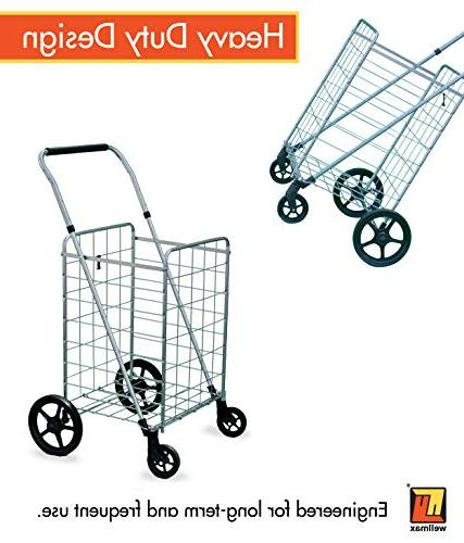 Grocery with Swivel Wheels – & Utility with Height Handle – Space Saving Duty Light Weight