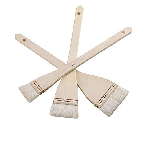 MEEDEN Hake Brushes Large Area Chip Paint Brushes Set for Acrylic and Wall Painting, Long 3 Pieces