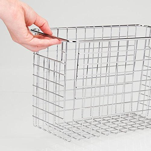 """mDesign Metal Storage Organizer Basket with for Cabinets, Pantry, Room, - 4 Pack, x 6"""" x"""