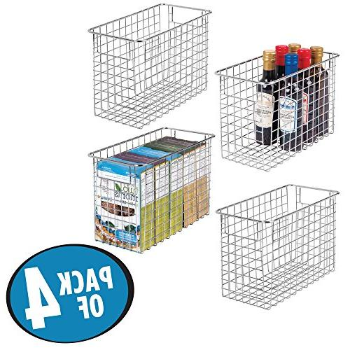 """mDesign Household Wire Storage Basket with Kitchen Cabinets, Pantry, Bathroom, Room, Closets, 4 x 6"""""""