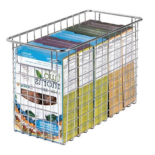 """mDesign Wire Storage with for Cabinets, Pantry, Room, Garage 4 Pack, 6"""" x Chrome"""